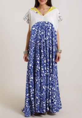 White & Royal blue patterned kaftan