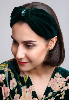 Green Knot Front Swarovski Turban