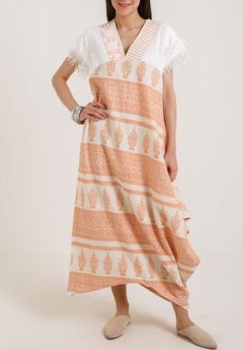 Printed fabric Kaftan orange