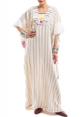 Beige Embroidered Striped Kaftan