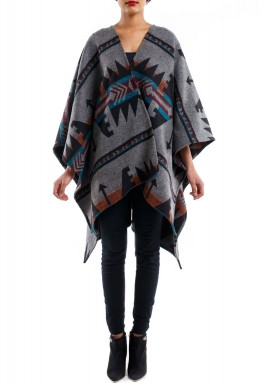 Grey Ethnic Print Cape