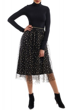 Black Tulle Golden Dots Kaftan