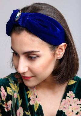 Blue Knot Front Swarovski Turban