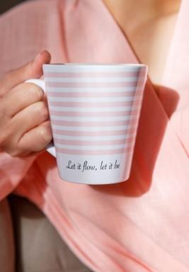Pink Striped Latte Mug
