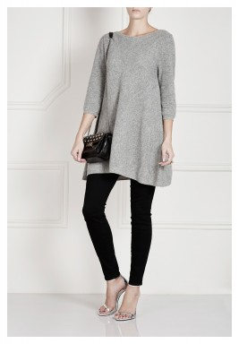 Grey Wool V Back Dress