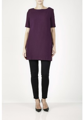 Purple Boxy Fit Short Sleeves Dress