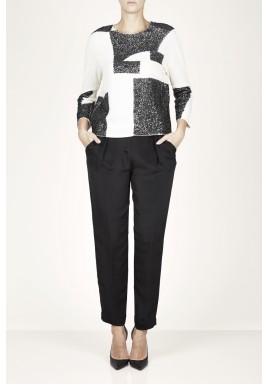Donatella Black & Creamy Sequined Top