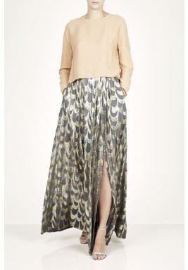 Severia Grey Pleated Printed Skirt