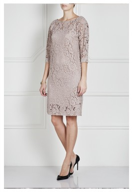 Vilma Pink Lace 3/4 Sleeves Dress