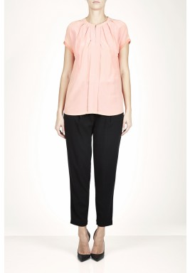 Peachy Pleated Short Sleeves Top