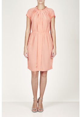 Pink Pleated Short Sleeves Dress
