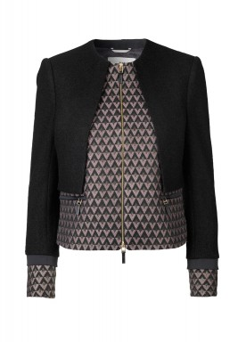 Rhombus Black Printed Zip Jacket