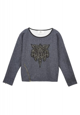 Key sequins detailed cotton sweatshirt