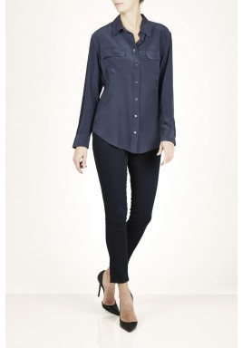 Navy Silk Long Sleeves Shirt