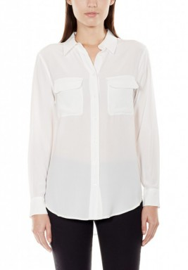 White Silk Long Sleeves Shirt