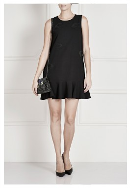 Black Ruffled Hem Sleeveless Dress