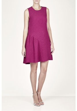 Fuchsia Pleated Sleeveless Dress