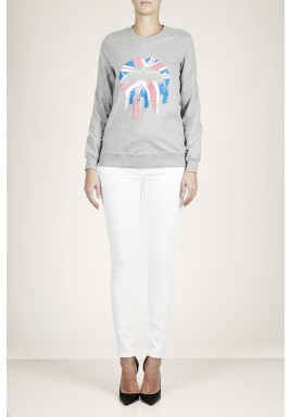 Union jack cotton drip lip sequined sweatshirt