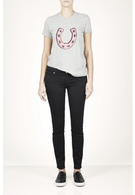 Lucky cotton horseshoe sequins T-shirt
