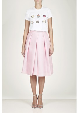 Split front pleated skirt