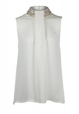 Yves beaded neckline silk top