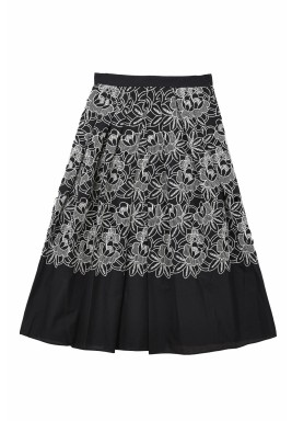 Black Embroidered Pleated Midi Skirt