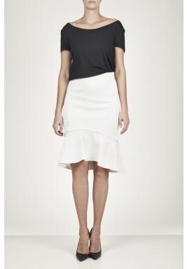 Creamy Fluted Cloqué Skirt