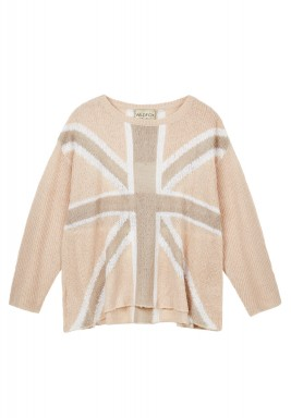 Pink & Beige Long Sleeves Knitwear