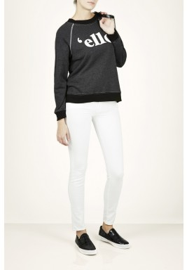Black Ello Print Long Sleeves Knitwear