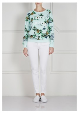 Mint Printed Embroidered Sweater