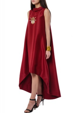 Bee collar Burgundy Dress