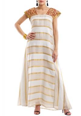 Striped beige, gold & white kaftan