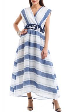 Blue stripes linen kaftan
