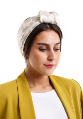 Houndstooth silk scarf taupe neutrals