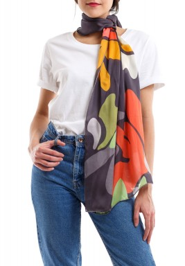 Tropical xmilitary silk scarf grey