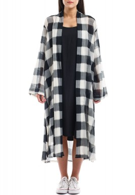 Amaranda Black & White Checked Bisht