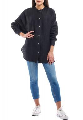 Black Linen Long Sleeves Shirt