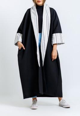 Black & White Striped Collar Bisht