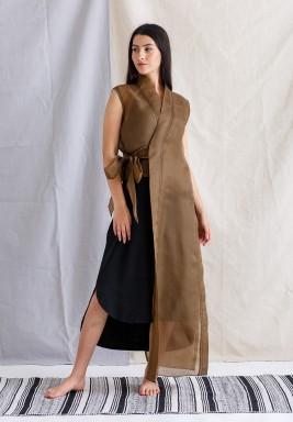 Bronze Sleeveless Long Vest with Inner Dress
