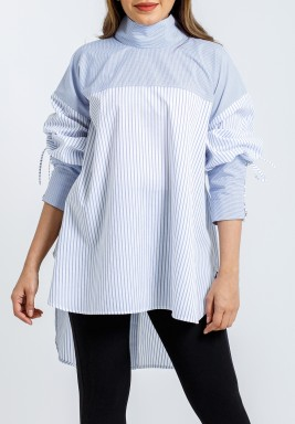 Tie- striped cotton-poplin Shirt