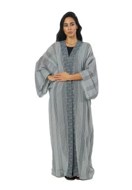 Grey Striped Crystal Kimono