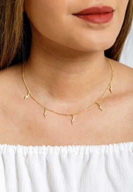 Gold-tone Crystal Lightning Choker