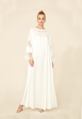 Esther - Trimmed Long Dress- Off White