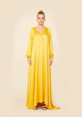 Sara - Rayon Long Dress - Saffron