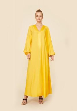 Nora - Rayon Long Dress - Saffron