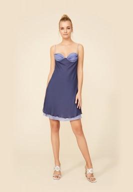 Blue Silk Chiffon Nightie
