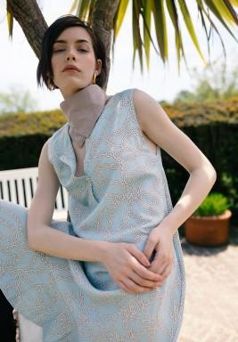 Lydia Turquoise Printed Dress