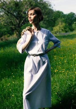 Bridget Blue Patchwork Maxi Dress