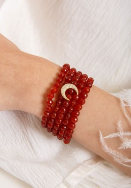 Red Stone Diamond Crescent Bracelet