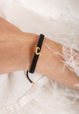 Black Cord Diamond Dal Bracelet